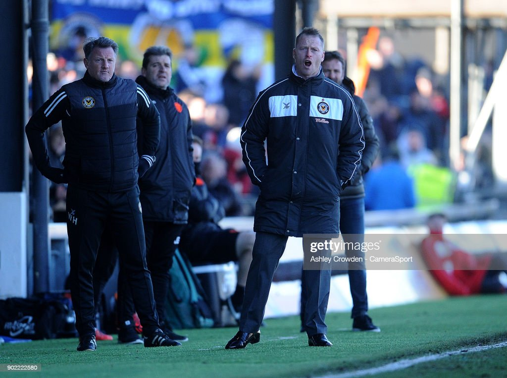 Newport County manager Michael Flynn shouts instructions during the game during the Emirates FA Cup Third Round match between Newport County and Leeds United at Rodney Parade on January 7, 2018 in Newport, Wales.