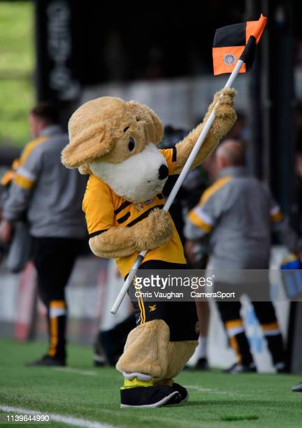 Newport County mascot Spytty the Dog celebrates following the Sky Bet League Two match between Newport County and Lincoln City at Rodney Parade on...
