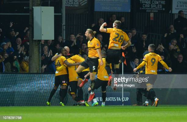 Newport County player celebrate after Jamille Matt of Newport County scores to make it 10 during the FA Cup Third Round match between Newport County...