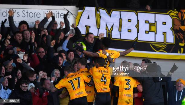 Newport County player Shawn McCoulsky celebrates his winning goal during The Emirates FA Cup Third Round match between Newport County and Leeds...