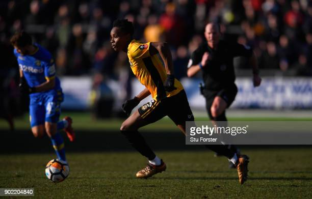 Newport County player Shawn McCoulsky in action during The Emirates FA Cup Third Round match between Newport County and Leeds United at Rodney Parade...
