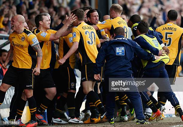 Newport County players celebrate after Christian Jolley scored their first goal during the Blue Square Bet Premier Conference Playoff second leg...