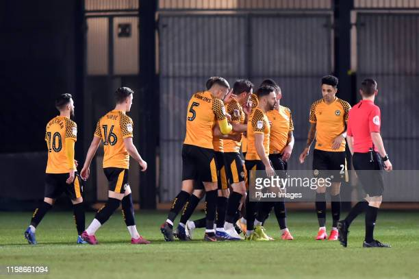 Newport County players celebrate after going 10 ahead during the Leasingcom quarter final match between Newport County and Leicester City U21 at...