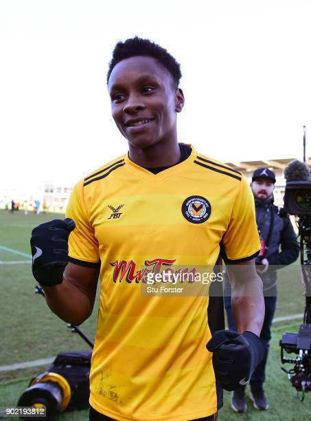 Newport County winning goalscorer Shawn McCoulsky celebrates after The Emirates FA Cup Third Round match between Newport County and Leeds United at...