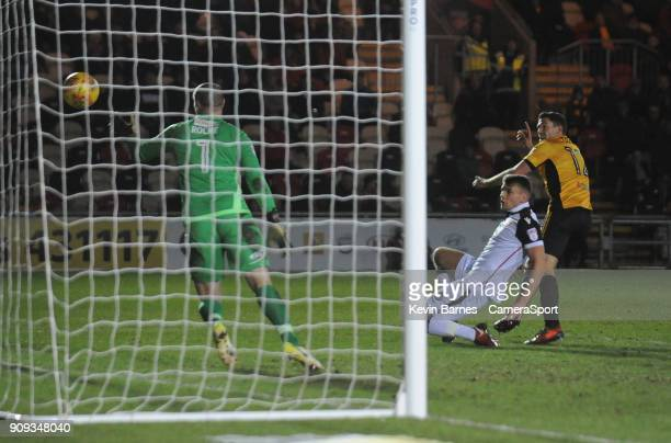 Newport County's Ben Tozer celebrates scoring his side's first goal during the Sky Bet League Two match between Newport County and Morecambe at...