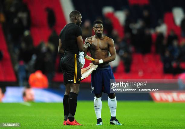 Newport County's Frank Nouble and Tottenham Hotspur's Serge Aurier exchange shirts at full time during the The Emirates FA Cup Fourth Round Replay...
