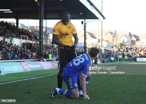 Newport County's Frank Nouble reacts to a challenge from Leeds United's Gaetano Berardi during the Emirates FA Cup Third Round match between Newport...