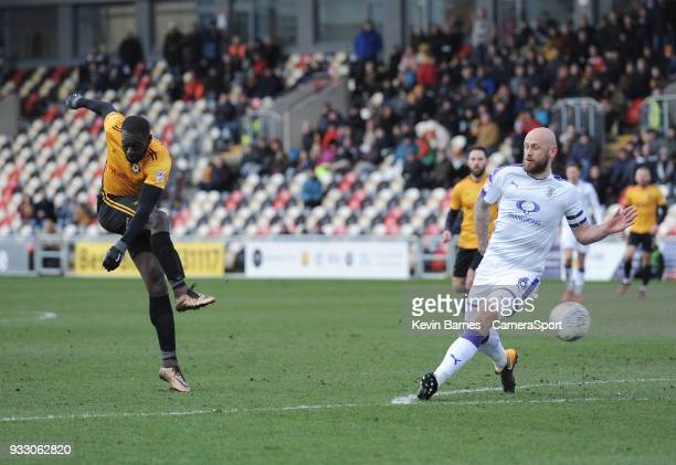 Newport County's Frank Nouble shoots during the Sky Bet League Two match betweenNewport County and Luton Town at Rodney Parade on March 16 2018 in...