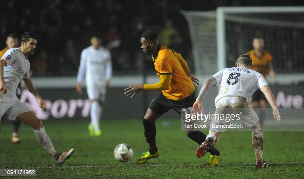 Newport County's Jamille Matt gets past Middlesbrough's Adam Clayton during the FA Cup Fourth Round Replay match between Newport County AFC and...