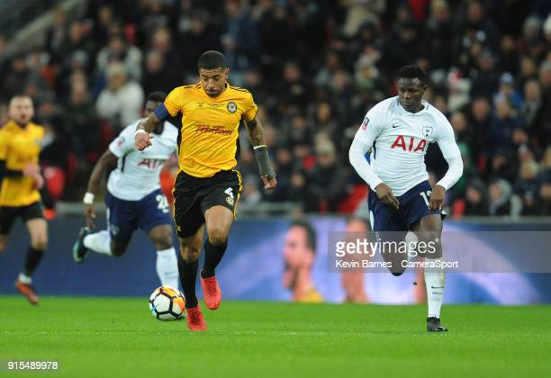 LONDON ENGLAND FEBRUARY Newport County's Joss Labadie under pressure from Tottenham Hotspur's Victor Wanyama during the The Emirates FA Cup Fourth...