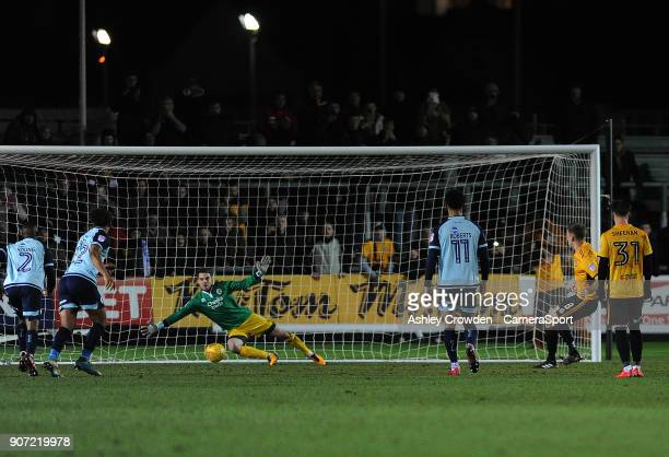 GOAL Newport County's Mickey Demetriou scores his side's second goal from a penalty during the Sky Bet League Two match between Newport County and...