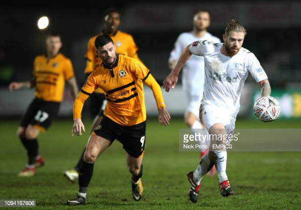 Newport County's Padraig Amond and Middlesbrough's Adam Clayton Newport County v Middlesbrough FA Cup Fourth Round Replay Rodney Parade