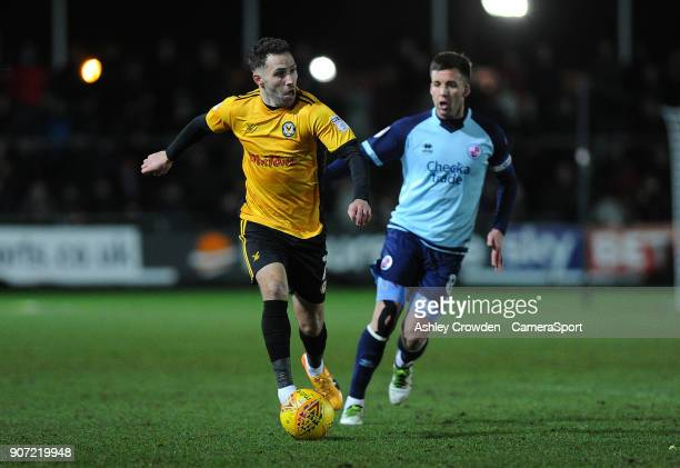 Newport County's Robbie Willmott battles with Crawley Town's Jimmy Smith during the Sky Bet League Two match between Newport County and Crawley Town...