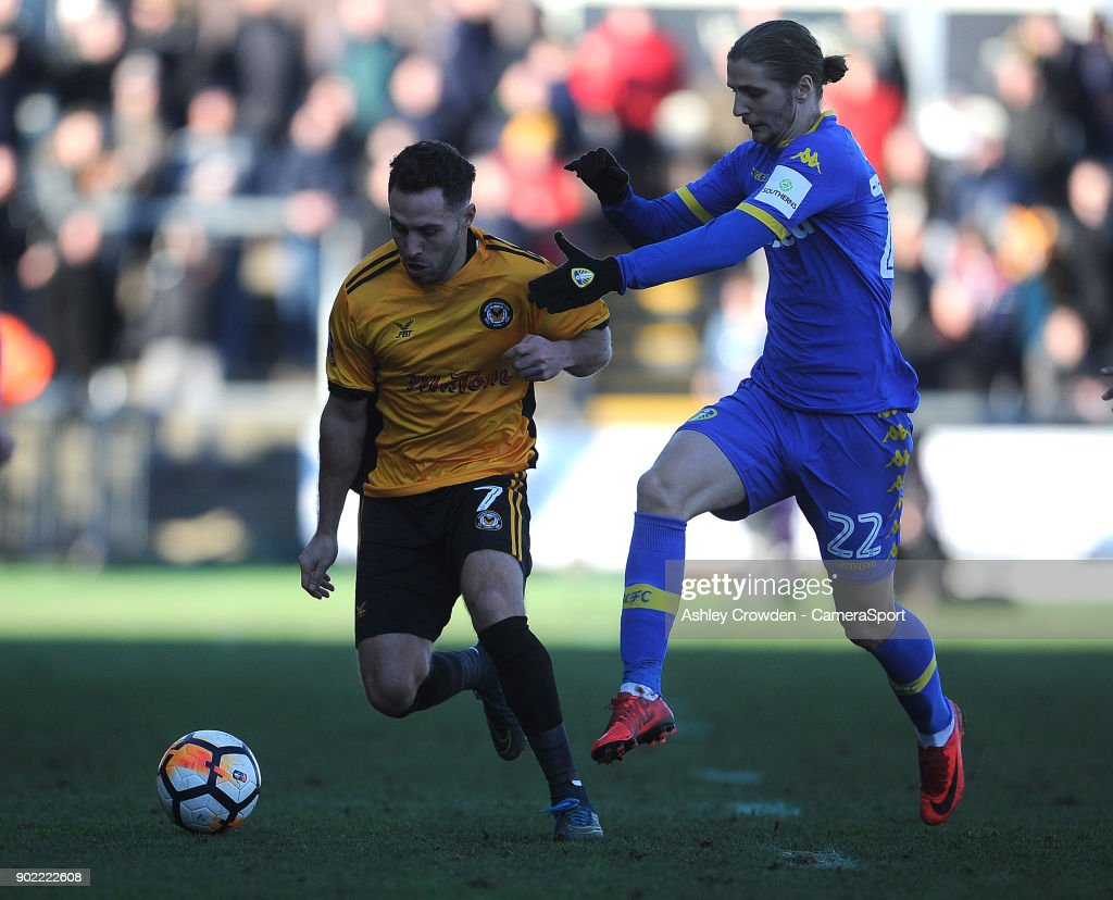 Newport County's Robbie Willmott vies for possession with Leeds United's Pawel Cibicki during the Emirates FA Cup Third Round match between Newport County and Leeds United at Rodney Parade on January 7, 2018 in Newport, Wales.