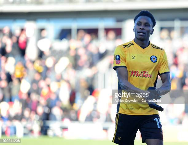 Newport County's Shawn McCoulsky at full time during the Emirates FA Cup Third Round match between Newport County and Leeds United at Rodney Parade...