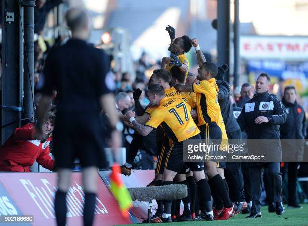 CELE Newport County's Shawn McCoulsky celebrates scoring his side's second goal during the Emirates FA Cup Third Round match between Newport County...