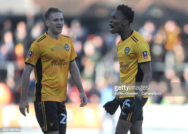 NEWPORT WALES JANUARY CELE Newport County's Shawn McCoulsky celebrates scoring his side's second goal during the Emirates FA Cup Third Round match...