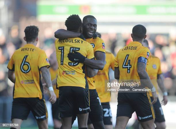 CELE Newport County's Shawn McCoulsky celebrates scoring his side's second goal with Frank Nouble during the Emirates FA Cup Third Round match...