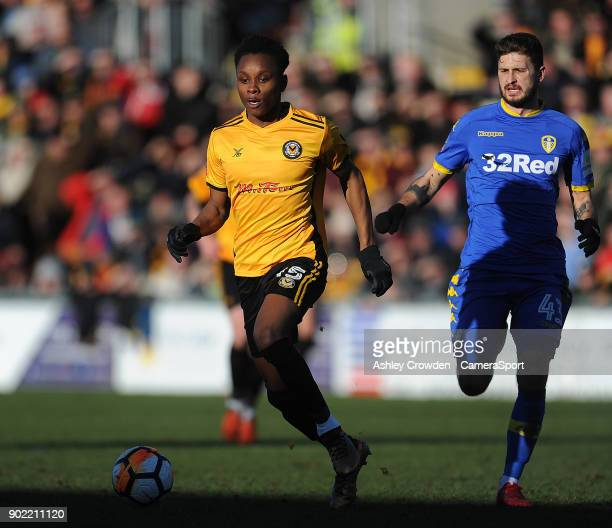 Newport County's Shawn McCoulsky during the Emirates FA Cup Third Round match between Newport County and Leeds United at Rodney Parade on January 7...