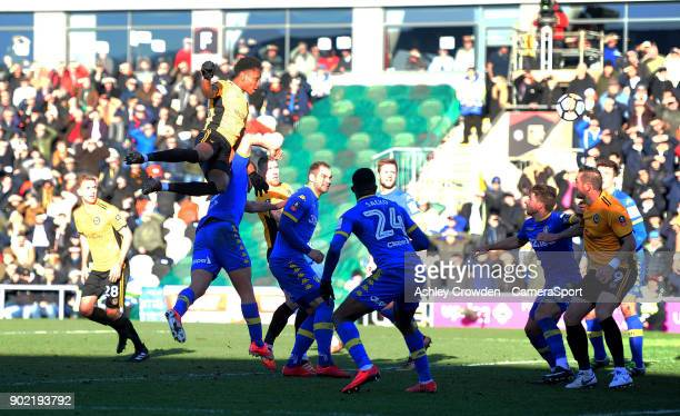 GOAL Newport County's Shawn McCoulsky scores his side's second goal during the Emirates FA Cup Third Round match between Newport County and Leeds...