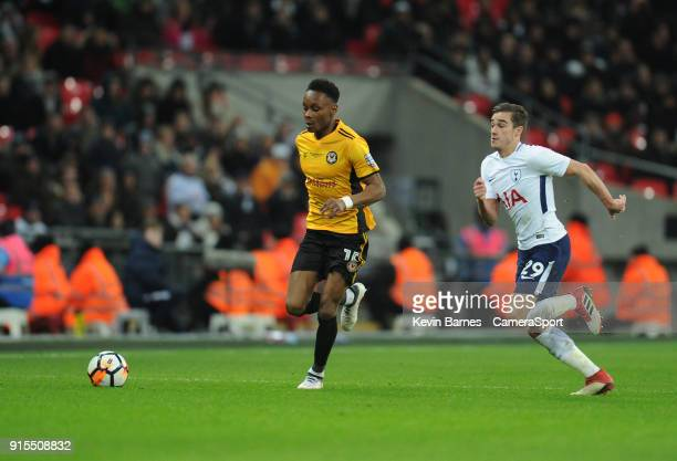 LONDON ENGLAND FEBRUARY Newport County's Shawn McCoulsky under pressure from Tottenham Hotspur's Harry Winks during the The Emirates FA Cup Fourth...