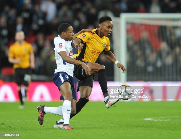 Newport County's Shawn McCoulsky under pressure from Tottenham Hotspur's Kyle WalkerPeters during the The Emirates FA Cup Fourth Round Replay match...