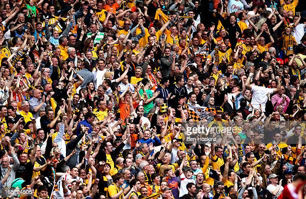 Newport fans celebrate after winning the Blue Square Bet Premier Conference Playoff Final match between Wrexham and Newport County AFC at Wembley...