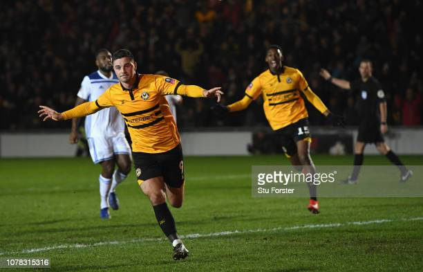 Newport goal scorer Padraig Amond celebrates after scoring the winning goal during the FA Cup Third Round match between Newport County and Leicester...