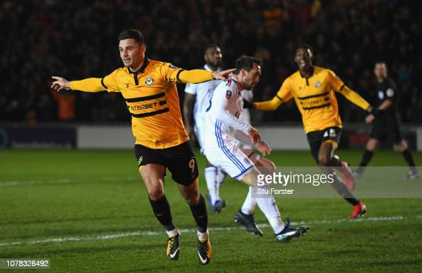 Newport goal scorer Padraig Amond celebrates after scoring the winning goal from the penalty spot during the FA Cup Third Round match between Newport...