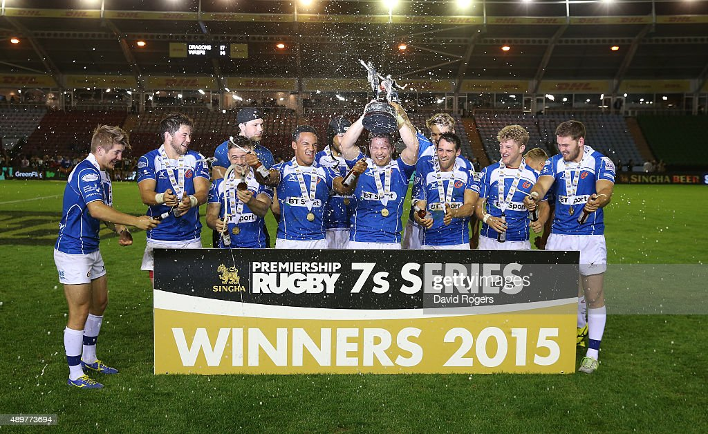 Newport Gwent Dragons celebrate beating Wasps in the final during the Singha Premiership Rugby 7's Series finals at Twickenham Stoop on August 28, 2015 in London, England.