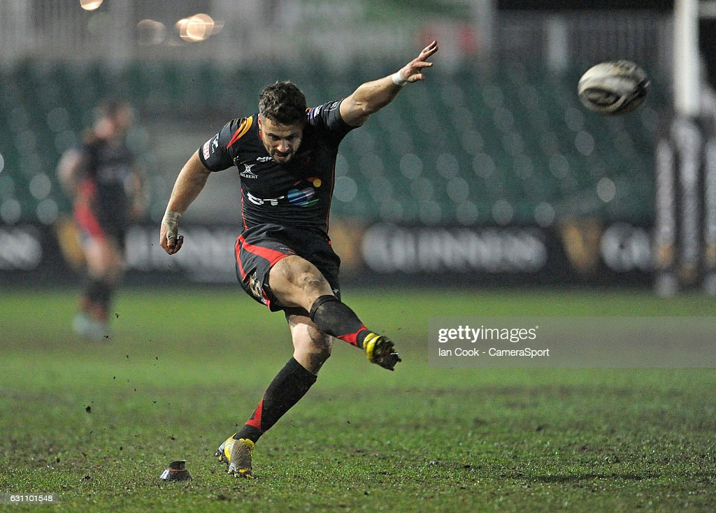 Newport Gwent Dragons' Dorian Jones converts his sides second try during the Guinness PRO12 Round 13 match between Newport Gwent Dragons and Benetton Rugby Treviso at Rodney Parade on January 6, 2017 in Newport, Wales.