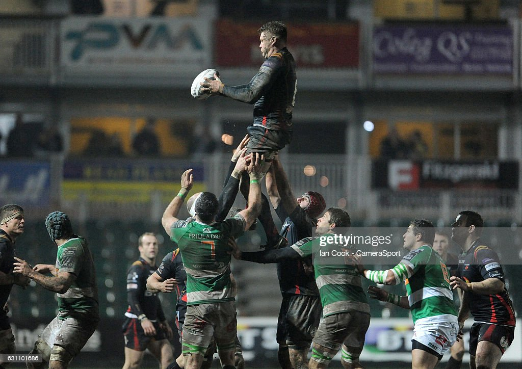 Newport Gwent Dragons' Lewis Evans claims the lineout during the Guinness PRO12 Round 13 match between Newport Gwent Dragons and Benetton Rugby Treviso at Rodney Parade on January 6, 2017 in Newport, Wales.