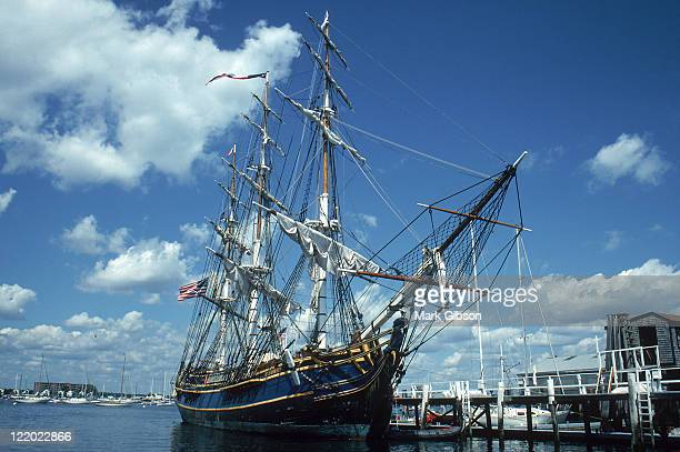 newport harbor, hms bounty - newport rhode island stock photos and pictures