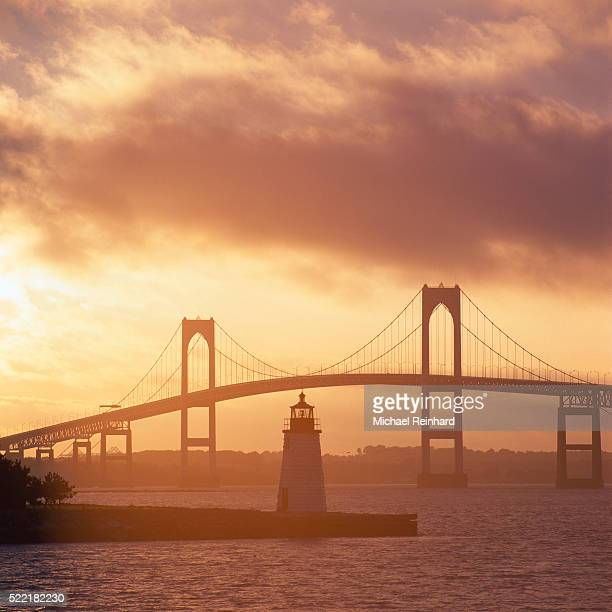 newport lighthouse & bridge - newport rhode island stock pictures, royalty-free photos & images