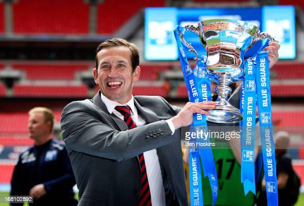 Newport manager Justin Edinburgh celebrates with the trophy after the Blue Square Bet Premier Conference Play-off Final match between Wrexham and...