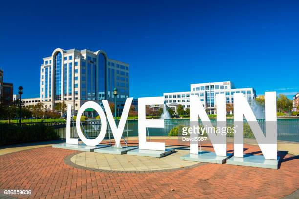 """newport news """"love nn"""" sign and city center - virginia stock pictures, royalty-free photos & images"""