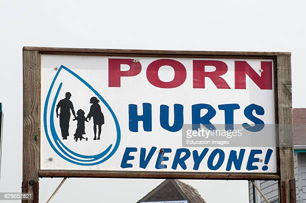 Newport Oregon Anti porn sign outside adult video store