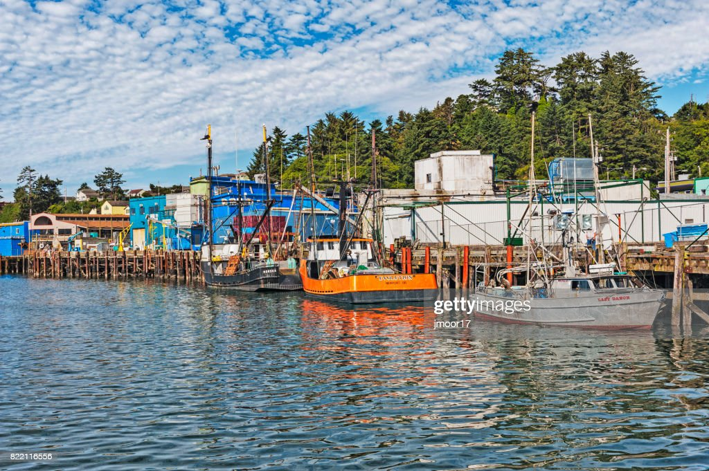Newport Oregon Harbor Views with Boats and Buildings : Stock Photo