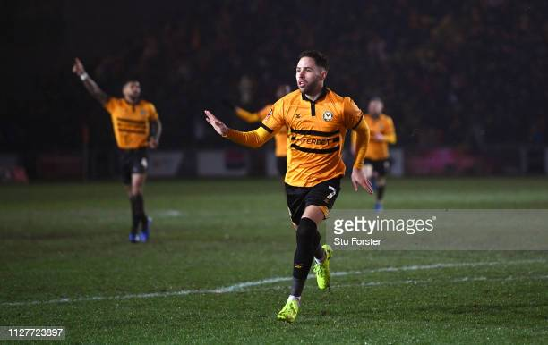Newport player Robbie Willmott celebrates his goal during the FA Cup Fourth Round Replay match between Newport County AFC and Middlesbrough at Rodney...