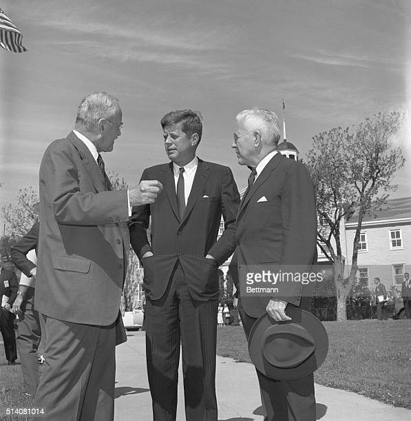 9/27/1961 Newport RI President John F Kennedy talks with John H McCone who is replacing Allan W Dulles as Driector of the CIA following the...