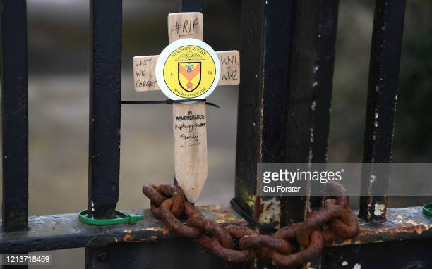 Newport Rugby Club World War One memorial gates are pictured at Rodney Parade on March 20 2020 in Newport Wales