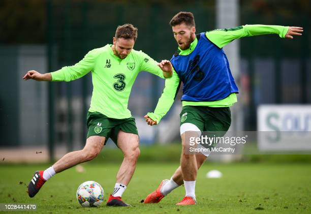 Newport United Kingdom 7 September 2018 Alan Judge and Matt Doherty right during a Republic of Ireland Training Session at Dragon Park in Newport...
