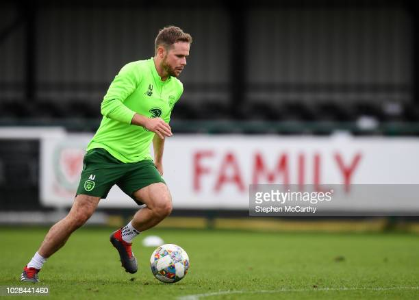 Newport United Kingdom 7 September 2018 Alan Judge during a Republic of Ireland Training Session at Dragon Park in Newport Wales