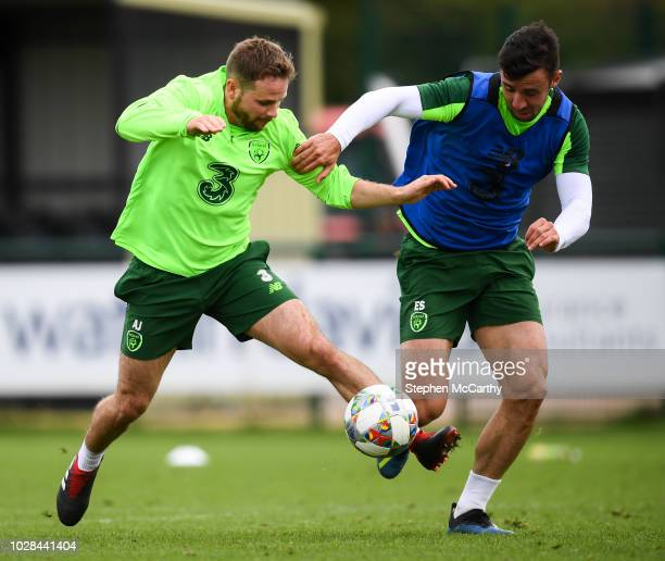 Newport United Kingdom 7 September 2018 Alan Judge left and Enda Stevens during a Republic of Ireland Training Session at Dragon Park in Newport Wales