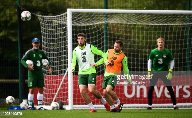 Newport United Kingdom 7 September 2018 Matt Doherty and Alan Judge right during a Republic of Ireland Training Session at Dragon Park in Newport...
