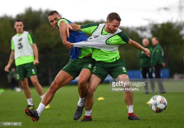 Newport United Kingdom 8 September 2018 Alan Judge right and Graham Burke during a Republic of Ireland training session at Dragon Park in Newport...