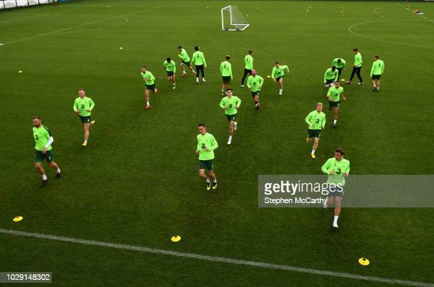 Newport , United Kingdom - 8 September 2018; Players warm up during a Republic of Ireland training session at Dragon Park in Newport, Wales.