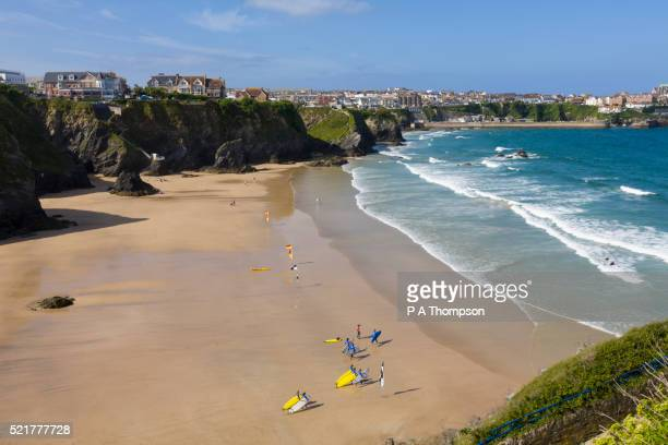 newquay beach, cornwall - cornish flag stock pictures, royalty-free photos & images
