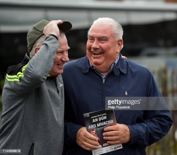 Newry Ireland 19 May 2019 Tony Scullion from Down and Joe Kernan from Armagh during the GAA Football Senior Championship quarterfinal match between...