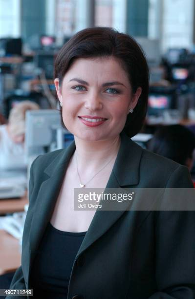 News 24 Presenter JANE HILL in the office shortly before going on air September 2002